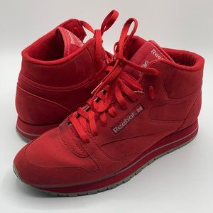 Reebok Red Suede Classic High Top Sneakers Size 10